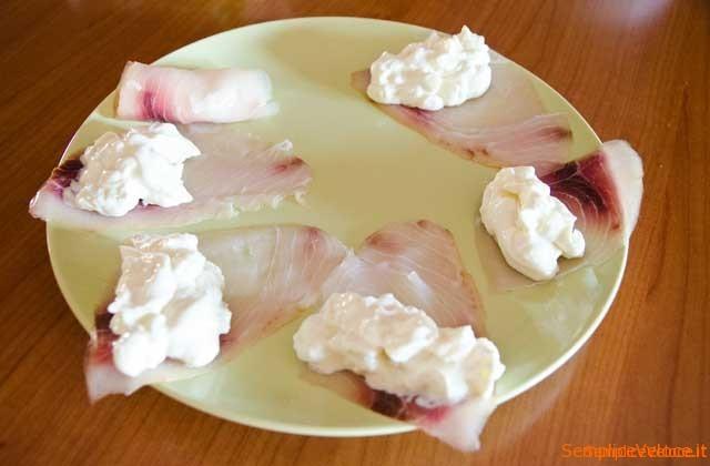 Pesce spada affumicato formaggio e pere