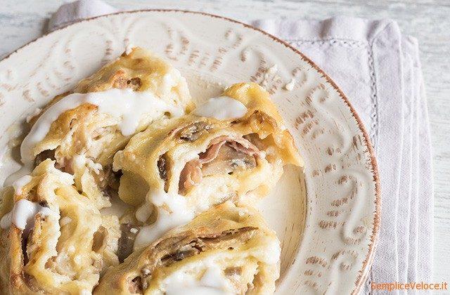 Girelle di pasta fresca con prosciutto e formaggio