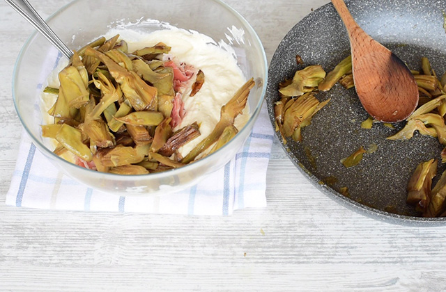 Torta salata Carciofi speck e ricotta